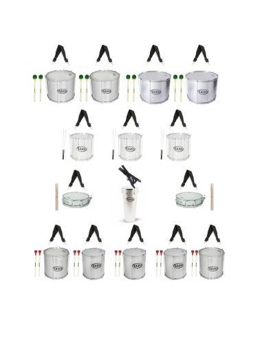 Pack de 15 instrumentos y accesorios para batucada