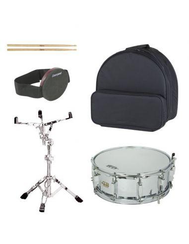 Pack de caja con mochila, soporte, caja sorda y baquetas